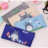 Wholesale Totoro Canvas - 12 pcs lot Kawaii My Neighbor Totoro Canvas Pen Bag Case Holder Storage Pencil School Supplies Cosmetic Makeup Travel