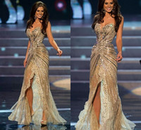 Wholesale Zuhair Murad Inspired Prom Dresses - Vestido Miss Universo Zuhair Murad Arabic Prom Pageant Dress Mermaid Gold side slit Crystal Beaded Lace Tulle Celebrity Evening Gowns