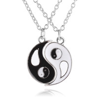 Wholesale Enamel Link Necklace - best friends necklace BBF Friendship Jewelry Couple yin yang ying yan Pendant Necklace Black White enamel chain stetement necklaces fatory