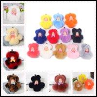 Wholesale Silicone Women Doll - Cute Bunny Fur&Vinyl Dolls Key Ring Pompoms Sleepdolls 14cm Keychain 17 Colors Gifts Pendant for Women
