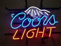 kunstanzeige beleuchtung großhandel-COORS LICHT UND EIS Leuchtreklame Real Glasrohr Bar Pub Shop Business Werbung Dekoration Kunst Geschenk Display Metallrahmen Größe 17