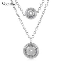 Wholesale Round Pendants Chain - VOCHENG NOOSA Necklace Ginger Snap Jewelry18mm and 12mm Interchangeable Double Chain Round Pendant NN-503