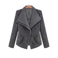 Wholesale Women Winter Work Coats - 2017 Women Autumn Winter Coat Jacket Fashion Classic Wool Blends Lapel Outwear Black Gray Work Suit Plus Size Coats Jackets