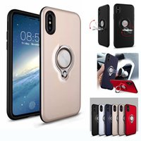 Wholesale iphone 5s cover ring online - Hybrid Armor Defender Case Ring Stand Holder Magnetic Back Cover with Retail Package For iPhone X Plus s Plus S SE