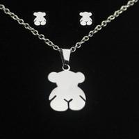 Wholesale Cute Teddy Girl - Fashion Cute Teddy Bear Jewelry Sets Silver Gold Stainless Steel Lovely Little Bear Pendant Earrings Sets For Women Girls