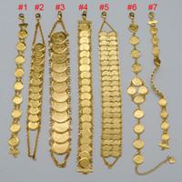 brazaletes musulmanes al por mayor-Pulsera de monedas de dinero 18K chapado en oro islámico musulmán monedas árabes pulsera para mujeres Hombre árabe de Oriente Medio brazalete de joyas