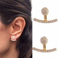 1 Par Rhinestone Curved Line Ear Jacket Earrings Mulheres Elegante Front Back Two Sides Earrings Ear Cuff Ear Climber Studs # 240231