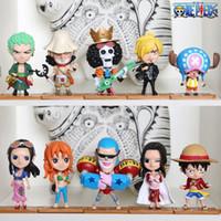 tek parça nami oyuncak toptan satış-One Piece 10 adettakım Luffy Nami PVC Japon Anime Aksiyon Figürleri Oyuncaklar Brinquedos Koleksiyon Modeli Bebek Hediye Boys Için ücretsiz kargo