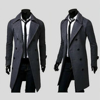 Wholesale Mens Slim Fit Down Coat - 2016 new fashion brand mens wool Warm winter coats long overcoat men Double Breasted trench coat Slim Fit Windproof down jacket