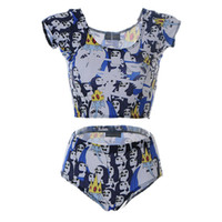 Wholesale Penguin Suits - Fashion Swim Suit Lady Digital Printing Tank tops Bathing Set Two-Piece Female Animal Beach Swimming Wear Penguin Kingdom Beachwear LNHst