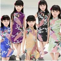 Wholesale Girls Peacock Dress - Multi-Colors Chinese Qipao Baby Girl Kids Floral Peacock Cheongsam Dress Clothes