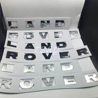 mektup etiketleri toptan satış-Land Rover Için araba Styling Logo Mektup Amblem Sticker Oto Ön Kaput Siyah / Gümüş Rozet Çıkartması