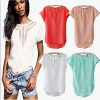Wholesale Carved Crow - new summer O neck Carved hollow Sexy Slim Chiffon shirts short sleeve tops women t shirts white
