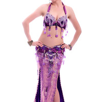 Wholesale Belly Dancing Outfits - Belly Dance Outfit 2pcs Bra&Waist Belt Bellydance Costume Professionals 11 Colors Traje Danza Del Vientre Bollywood Costumes