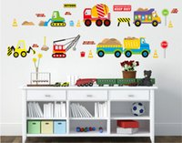 Wholesale Cartoon Pictures For Kids Room - JM8259 Korea Cartoon PVC Wall Stickers with Retail Package Trucks Excavator Crane Stickers Waterproof Wall Painting Pictures for Children