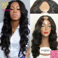 peluca de pelo chino negro al por mayor-7A grado cabello humano chino U parte pelucas onda del cuerpo Glueless Upart cabello humano pelucas ondulado parte media para mujeres negras