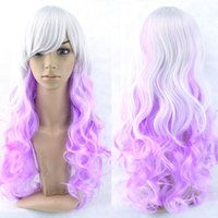 Wholesale Cosplay Lolita Wigs White - Fashion Lady Long Curly Silvery White Purple Gradient Hair Wigs Two Tone Ombre Wig Lolita Harajuku Wigs mixed Color Cosplay Hair Full Wig