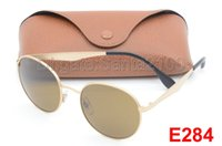 Wholesale Gold Cat Sunglasses - 1pcs Excellence Fashion Retro Metal Sunglasses Round Sun Glasses Eyewear For Man Woman Gold Brown Glass 51mm Lenses With Better Cases