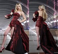 strapless deep v white dress 2018 - Rami Salamoun 2016 Hot Burgundy Detachable Train Sexy Cocktail Party Formal Dresses Strapless Backless Maxi Short Prom Occasion Gown
