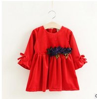 Wholesale Velvet Bow Clothes - Girls princess dress fashion kids velvet stereo flowers sashes dress children bowsnot flare sleeve dress Autumn new girls clothing G0883