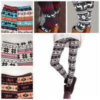 Wholesale Natural Silk - Colorful christmas snowflake leggings Printed Silk Legging girls Women spring Warm Pants free shipping in stock