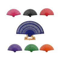 Wholesale Promotional Wedding Fans - 8 Inches Colorful Chinese Sandalwood Fans Promotional Hand Folding Fan Wedding Party Favors And Gift ZA4453