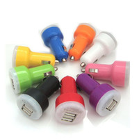 Für Iphone 6 6s Samsung Mini Car Charger Bunte 2 Ports Nippel Auto Adapter Zigarettenanzünder 2100mAh Auto Power Adapter Opp Paket