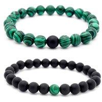 Wholesale Emerald Green Bead Bracelet - New Arrival Malachite Distance Bracelet Set Charms Round Beads Elastic Couple Braclet For Women Men Meditation Jewelry