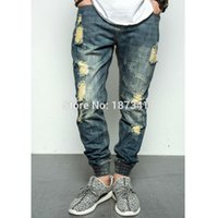 Wholesale Damaged Jeans - 2017 New Fashion Street Mens Destroyed Jeans Hole Casual Jeans Ankle Cool Hiphop Jeans Joggger Damage Jeans