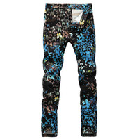 Wholesale Fancy Jeans - Men's fashion butterfly print jeans Casual slim fit black blue fancy painted denim pants Long trousers