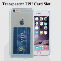 Fente pour carte Slim Case souple TPU pour Iphone 7 Cas ID Credit Card Case Slot Case Transparent Pour Samsung Note5 S7 SCA220
