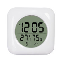 Wholesale Lcd Humidity - Fashion White LCD NEW Waterproof Shower Bathroom Wall Clock Temperature Thermometer Hygrometer Meter Gauge Monitor Humidity