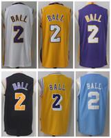 Wholesale Lakers Black Jersey - 17 18 New Men's Los Angeles #2 Lonzo Ball 24 Kobe Bryant 0 Kyle Kuzma Home purple black Blue white yellow Jersey Lakers stitching Jerseys