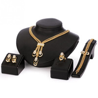 Wholesale Black Costume Jewelry Rings - European Style Retro Jewelry Set For Women Golden Beads Collar Necklace Earrings Bracelet Fine Rings Sets Party Costume