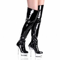 Wholesale Japanned Leather Shoes - 15cm ultra high heels boots barreled crystal platform japanned leather performance shoes plus big size 6 inch thigh high boots