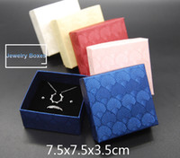 Wholesale Fedex Jewelry - DHL  FedEx FREE 100pcs 7.5*7.5*3.5cm Jewelry Boxes Top Quality Gift Boxes for earrings necklace Packaging Box 5 Colors optional