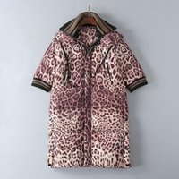 Wholesale Three Quarter Sleeve Down Jackets - European and American women's wear 2017 The new winter Detachable hat pocket Leopard print down jacket