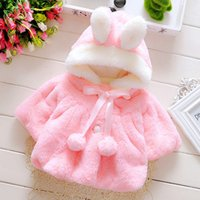 Wholesale Hooded Toddler Cloak - Winter Baby Girls Coat New 2017 Warm Cloak Jacket Thick Infant Clothes Cute Bunny Ear Hooded Toddler Outwear C1806