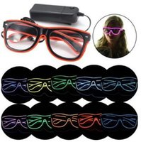 Wholesale Wholesale El Wire - LED Party Glasses Fashion EL Wire Glasses Birthday Halloween Party Bar Decorative Supplier Luminous Glasses Eyewear CCA7198 100pcs