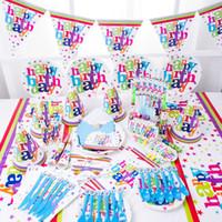 Wholesale Wholesale Invitation Paper Supplies - Tablewares Kid Birthday Decorate Disposable Tableware Paper Cup Favorite Carnival Theme Set Cartoon Scene Layout Supplies 378mxa C R