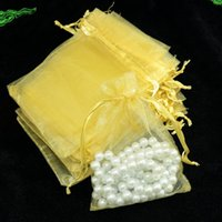 Wholesale Gold Drawstring Organza Bag - Plain Gold Small Organza Drawstring Jewelry Pouches Party Wedding Favor Gift Bags Packaging Gift Candy Wrap Square 5 X 7cm 2''X2.75'' 100pcs