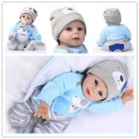 Wholesale Touch Dolls Toys - 55cm 22inch Newborn Handmade Reborn Baby Doll Life like Soft Vinyl silicone Gentle Touch Cloth Body Toys Gifts + Magnetic pacifier