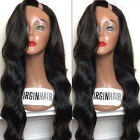 Wholesale Ombre U Part Wigs - U Part Wig Human Hair For Black Women Grade 8A Unprocessed Body Wave Brazilian Upart Wigs 1*3 Left Part For African Americans