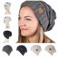 Wholesale Crochet Girls Beanies - CC Knitted Hats CC Trendy Beanie Women Chunky Skull Caps Winter Cable Knit Headgear Slouchy Crochet Hats Fashion Outdoor Hat OOA2453