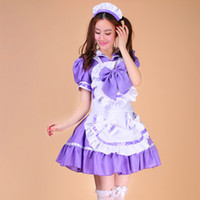 Wholesale Cute Sailor Costumes For Women - The Cute Black and Purple cosplay Lolita Suits for Animation Stage Costumes Maid in Japanese Sailors Girl Cartoon Suits