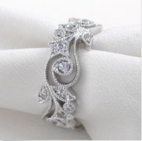 Wholesale Finger Wounds - Fashion flower wind 925 Sterling Silver Ring Simulated Diamond Zircon Finger Rings Wedding Band Jewelry For Women Size 5,6,7,8,9,10