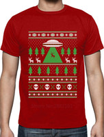 Wholesale alien sweater - Alien Reindeer Abduction Ugly Christmas Sweater T-Shirt Xmas T Shirt Men Casual Cotton Short Sleeve