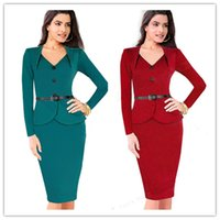 Wholesale Long Sleeve Frill Dress - Vitoria new hot ladies fashion dress V collar sleeved frill package hip dress