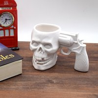 Wholesale Mugs Pistol Handle - Wholesale- 2017 White Creative Skull Handle Pistol Cup High Quality Ceramic Mugs Funny Halloween Horror