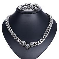 Wholesale Skulls Necklace Blue - 200.6g   pair 13mm Domineering Skull head necklace bracelet set Top precision steel Birthday present bracelet jewelry Punk jewelry